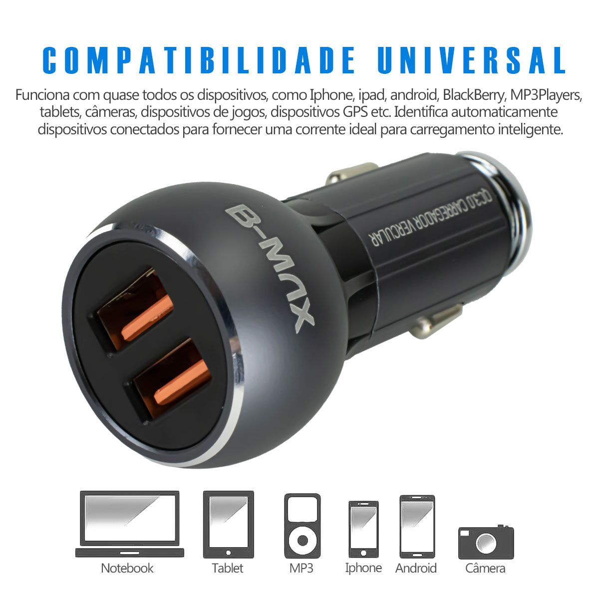KIT 5x Carregador Veicular Turbo Quick Charge 3.0 36w para Iphone Lightning B-Max BM8611