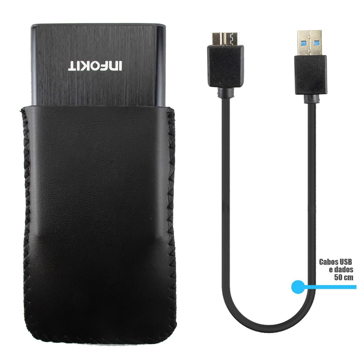 "KIT 5x Case para HD de Notebook 2,5"" Externo USB 3.0 e SATA II Alumínio Infokit ECASE-330"