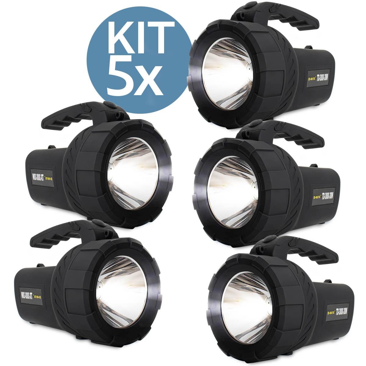 Kit 5x Lanterna Led Holofote Recarregável B-Max TD-3000-30W