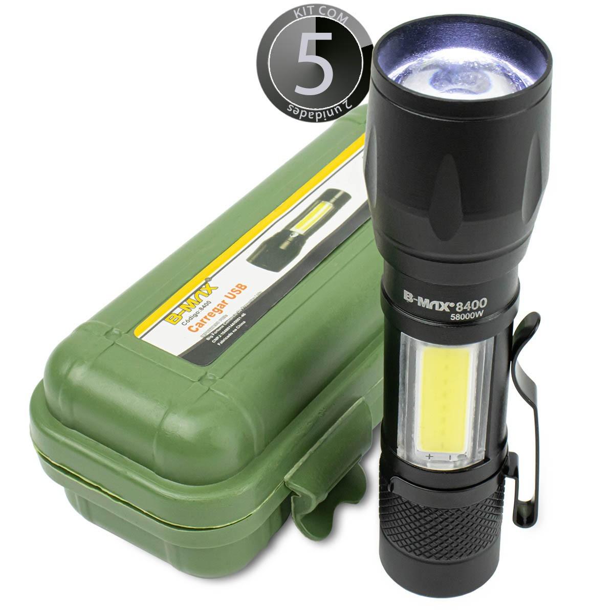 KIT 5x Lanterna Led Mini Recarregável via Usb B-Max BM8400