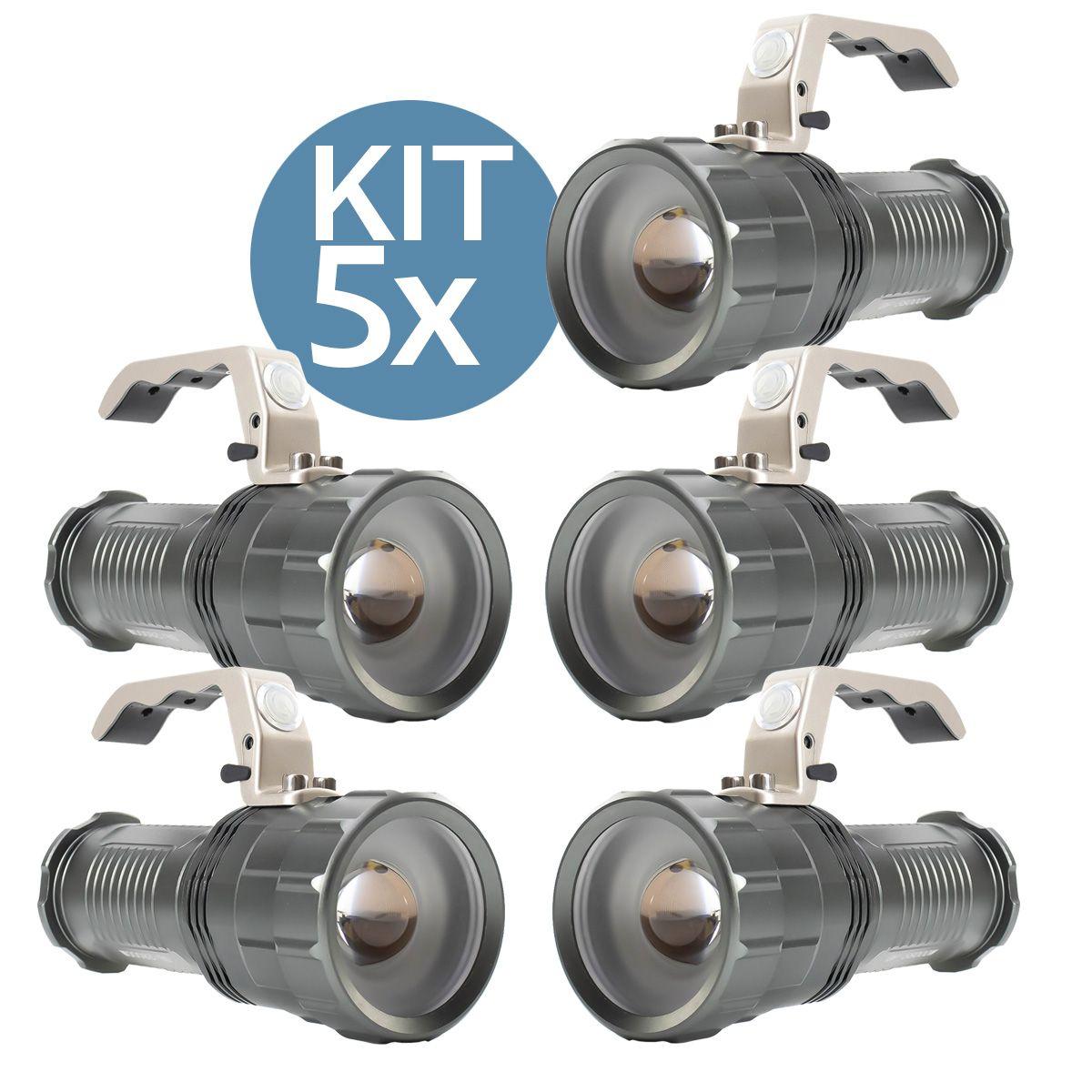 KIT 5x Lanterna Led Recarregável de 1200 Lumens B-Max BM-8806