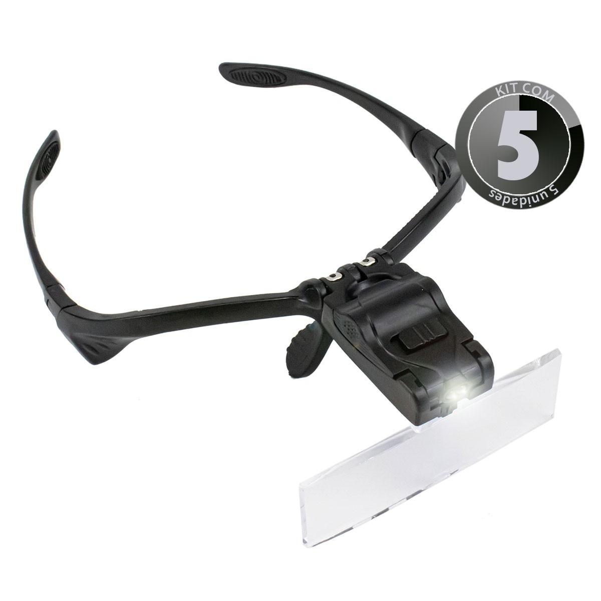 KIT 5x Lupa de Cabeça Óculos com 5 Lentes de Aumento e Luz de Led 9892B