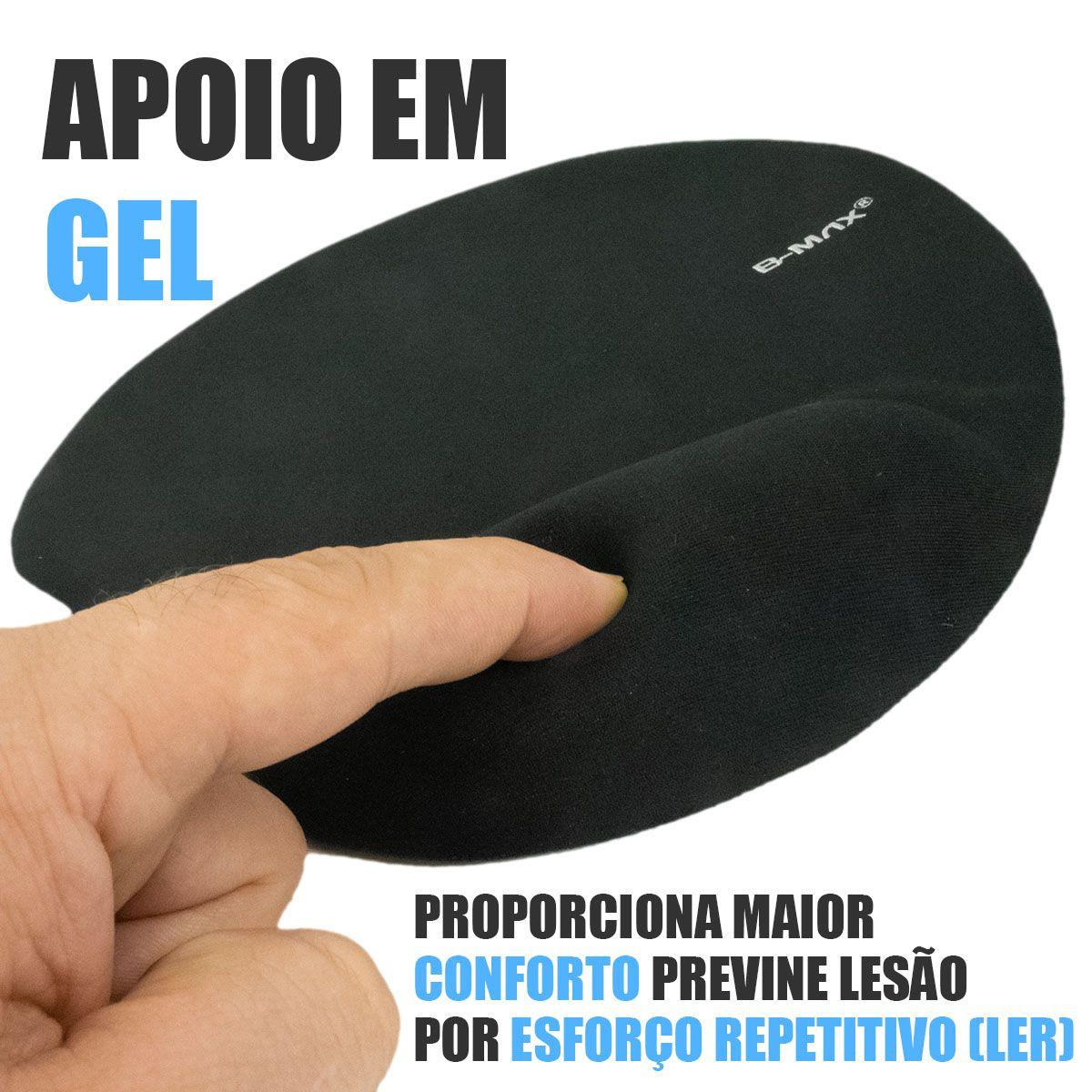 KIT 5x Mouse Pad com Apoio de Pulso em Gel Confort B-Max BM751
