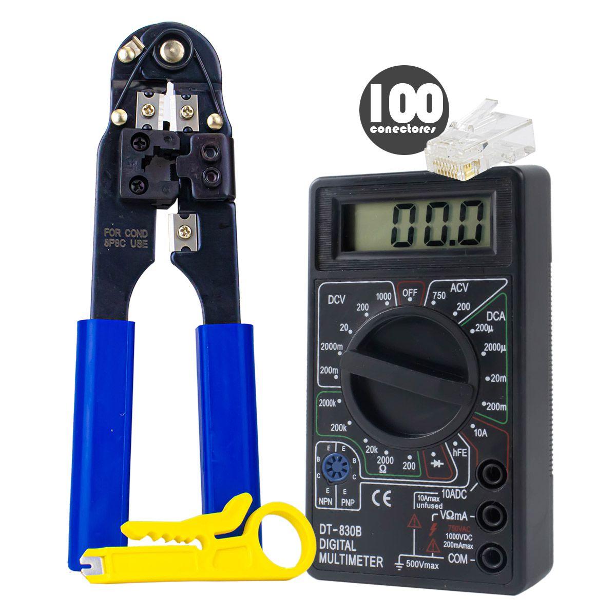 KIT Alicate de Crimpar 210c + 100x Conectores RJ45 + Multímetro Digital XT-573