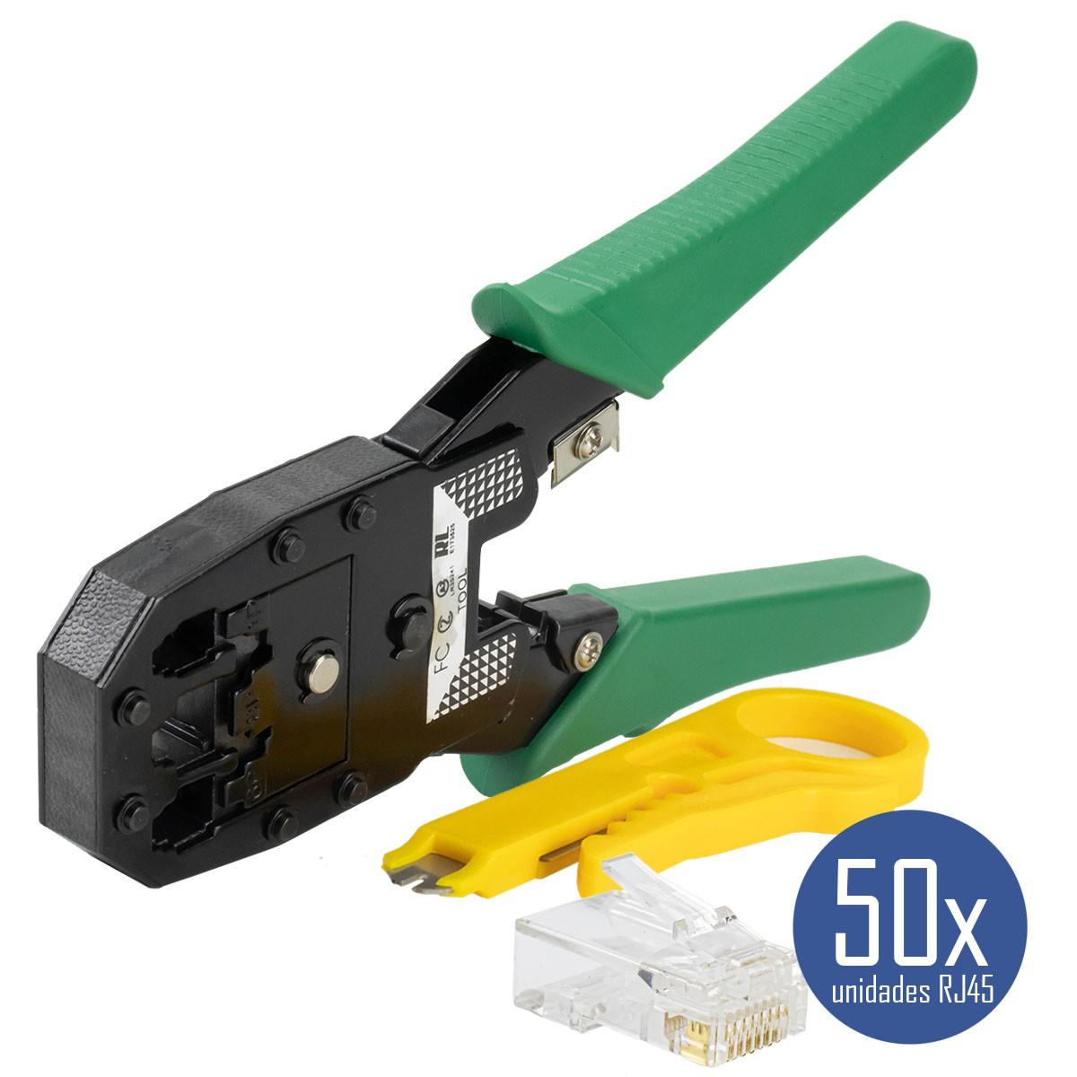 KIT Alicate de Crimpar 210c + Alicate p/ Crimpar Coaxial + Alicate Decapador Cabo Coaxial + 50x Conectores RJ45