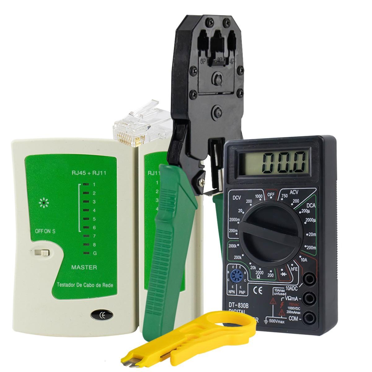 KIT Alicate p/ Crimpagem RJ45 e RJ11 + Testador de Cabos RJ45 + 100x Conectores RJ45 + Multímetro XT-573