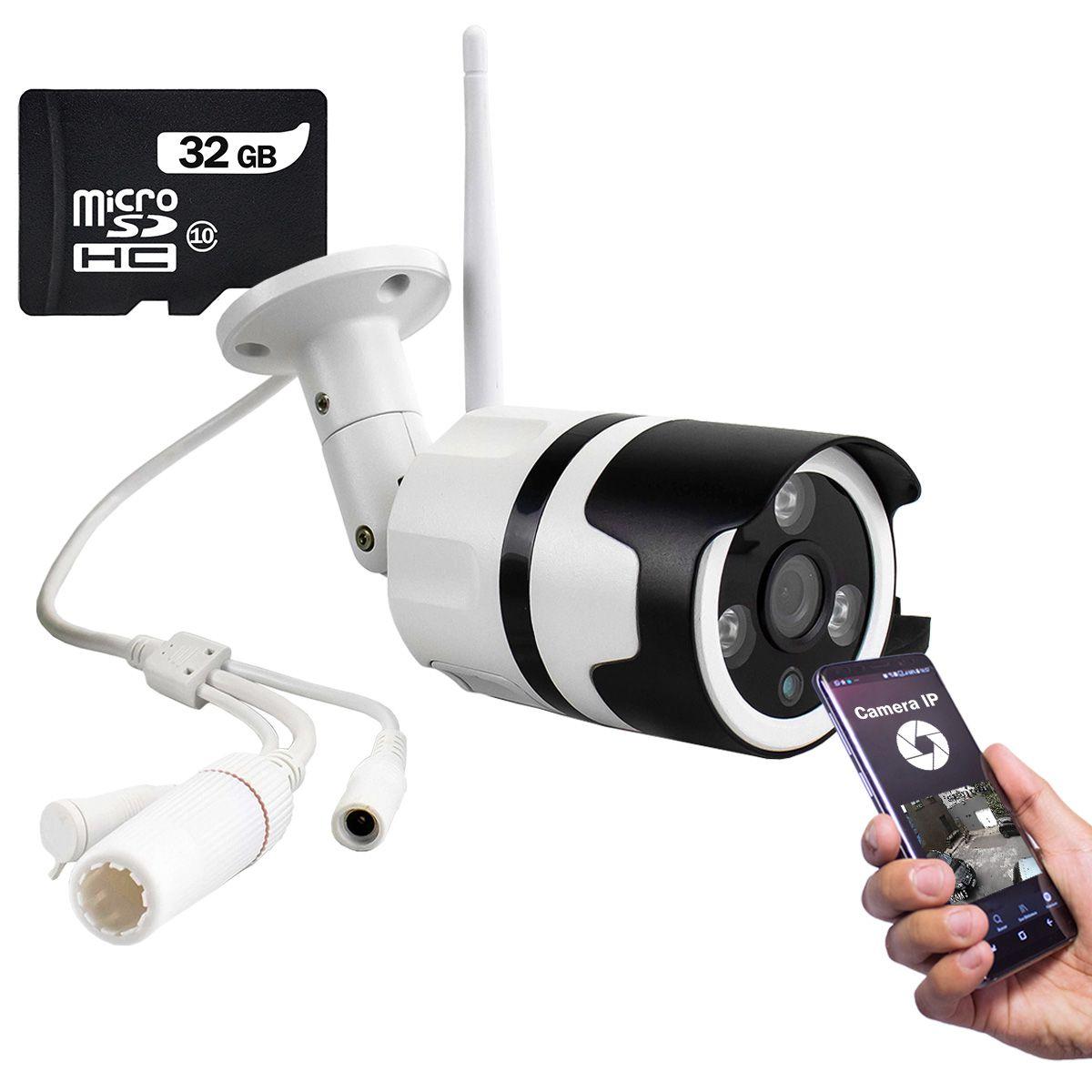 KIT Câmera IP Digital Externa Full HD à Prova D'água com Visão Noturna 1080p XA-N632 + Cartão Micro SD 32GB