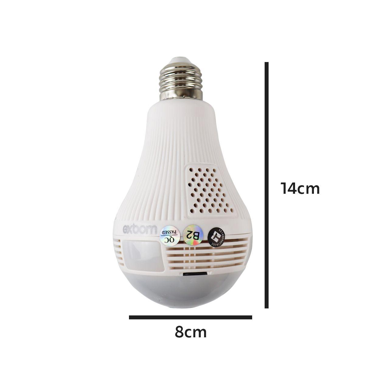 KIT Câmera IP Wi-fi Panorâmica Lâmpada Exbom IPCAM-L130 com Visão Noturna + Cartão Micro SD 32GB