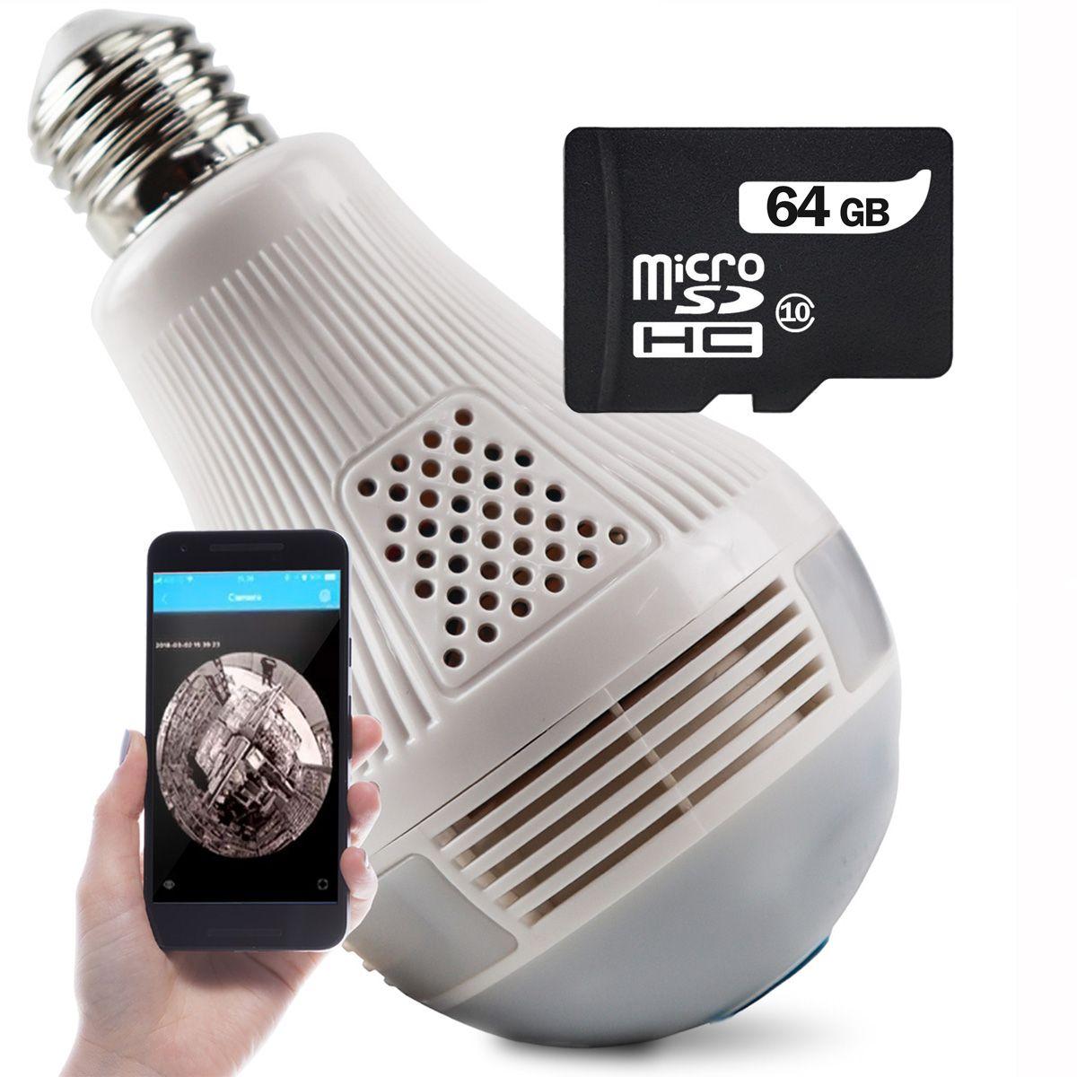 KIT Câmera IP Wi-fi Panorâmica Lâmpada Exbom IPCAM-L130 com Visão Noturna + Cartão Micro SD 64GB