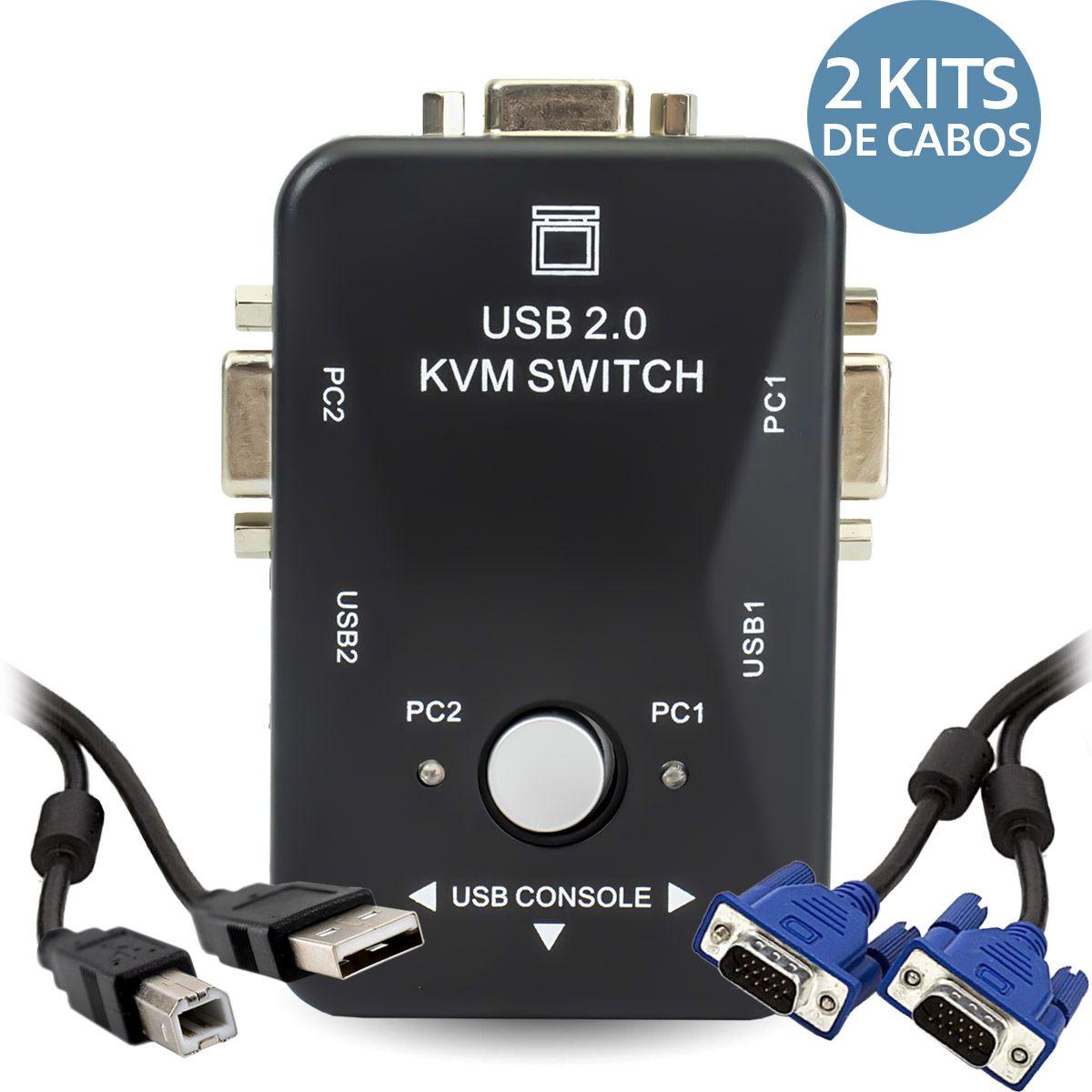 KIT Chaveador Switch KVM 2 Portas USB KVM21UA + 2 Cabos USB AB + 2 Cabos VGA