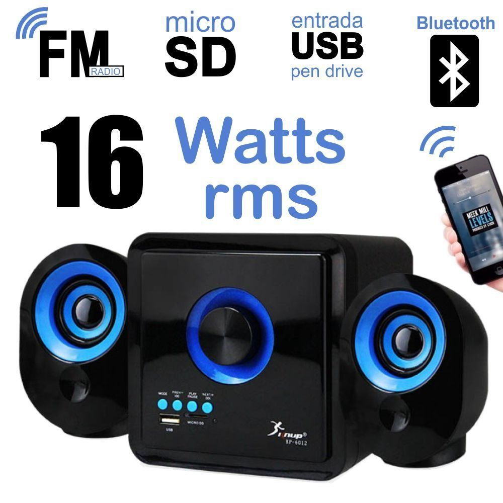 Kit 2 Caixa de Som com Subwoofer 2.1 16 Watts Rms Usb/SD/Bluetooth Knup KP-6012
