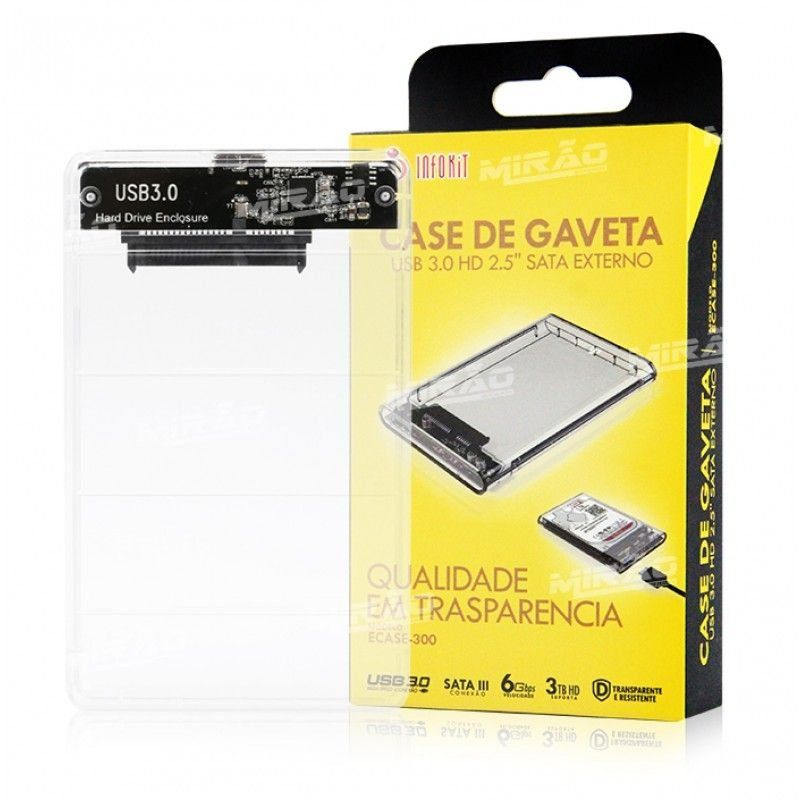 Kit com 3 Case USB 3.0 Transparente para HD Sata de 2,5
