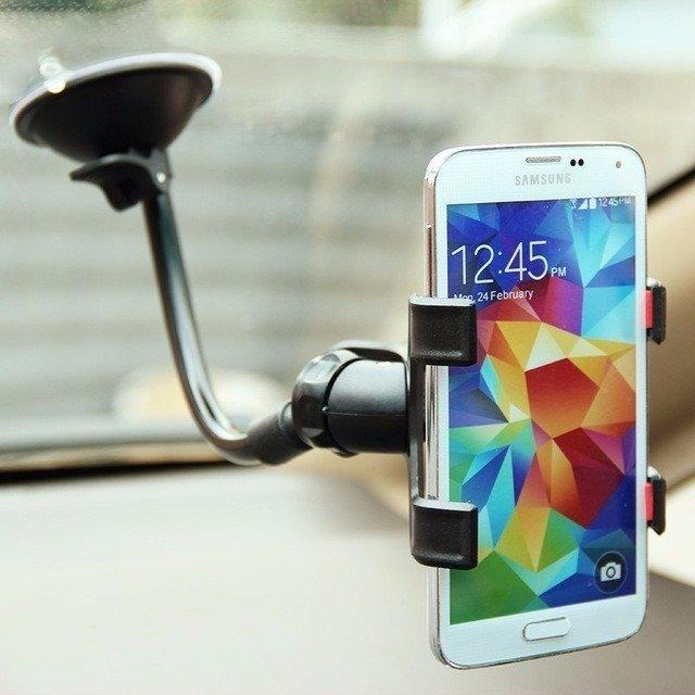 KIT 4 Suportes Universal para GPS e Celular com Haste de Metal Flexível e Clipe Duplo Exbom SP-T20