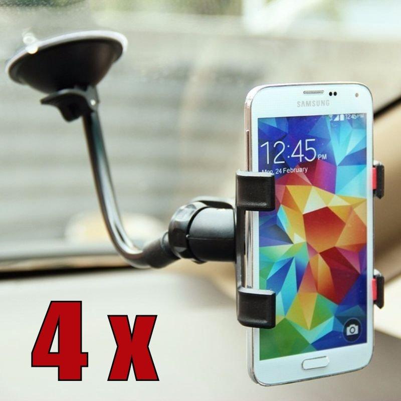 Kit com 4 Suportes Universal para GPS e Celular com Haste de Metal Flexível e Clipe Duplo Exbom SP-T20