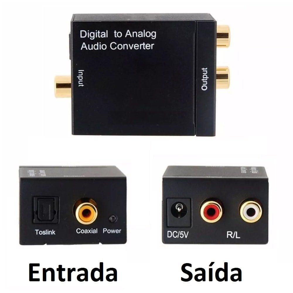 Kit Conversor Áudio Digital p/ RCA + Cabo Áudio Rca x Rca