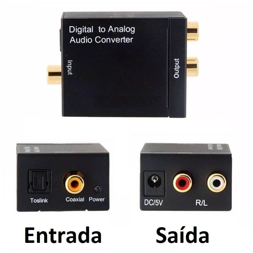 Kit Conversor Áudio Digital para RCA + Cabo Óptico Toslink 1,5 mts + Cabo Áudio Rca x Rca
