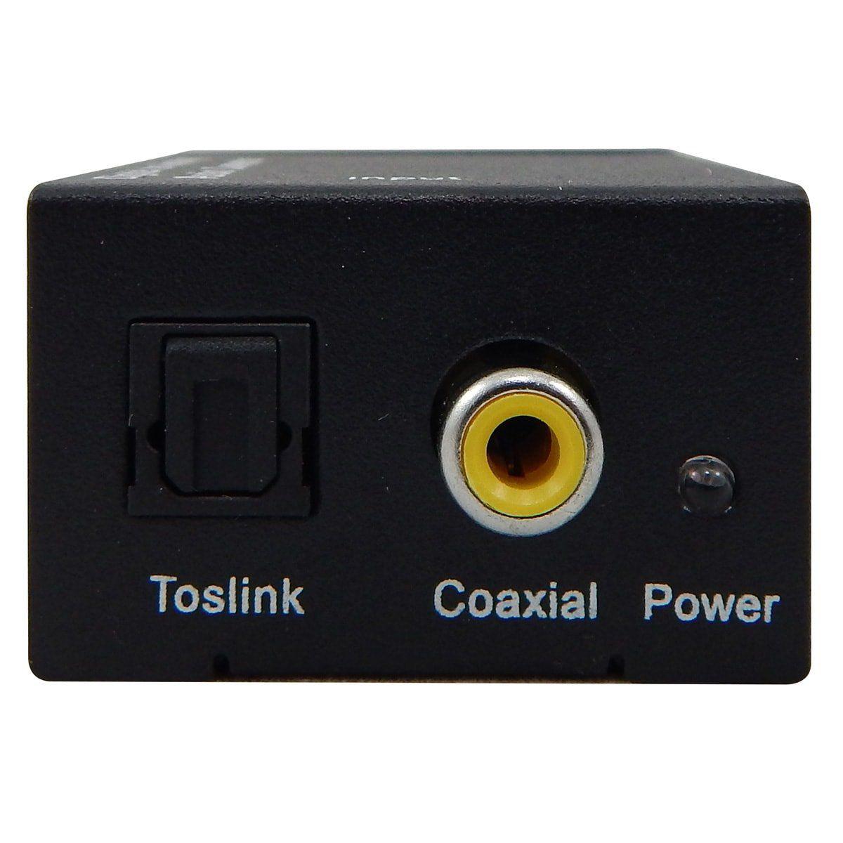 Kit Conversor Áudio Digital para RCA + Cabo Óptico Toslink 1,5 mts + Cabo Áudio Rca x Rca e Rca x P2