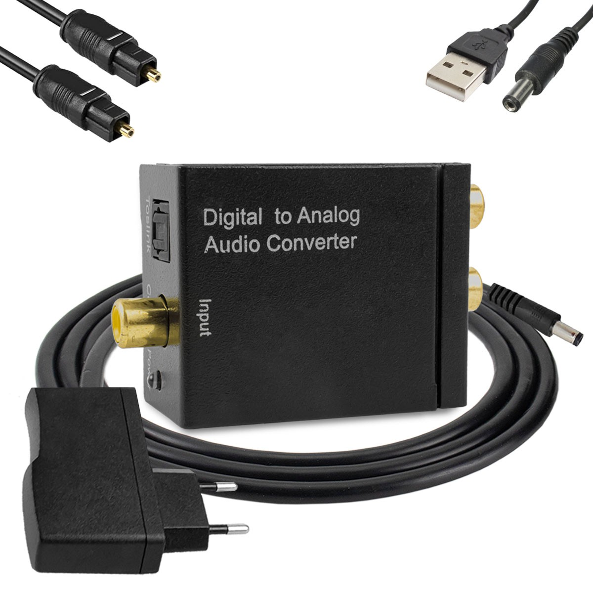 KIT Conversor Áudio Digital para RCA e P2 XT-5529 + Cabo Óptico Toslink 2 metros + Cabo DC 5V