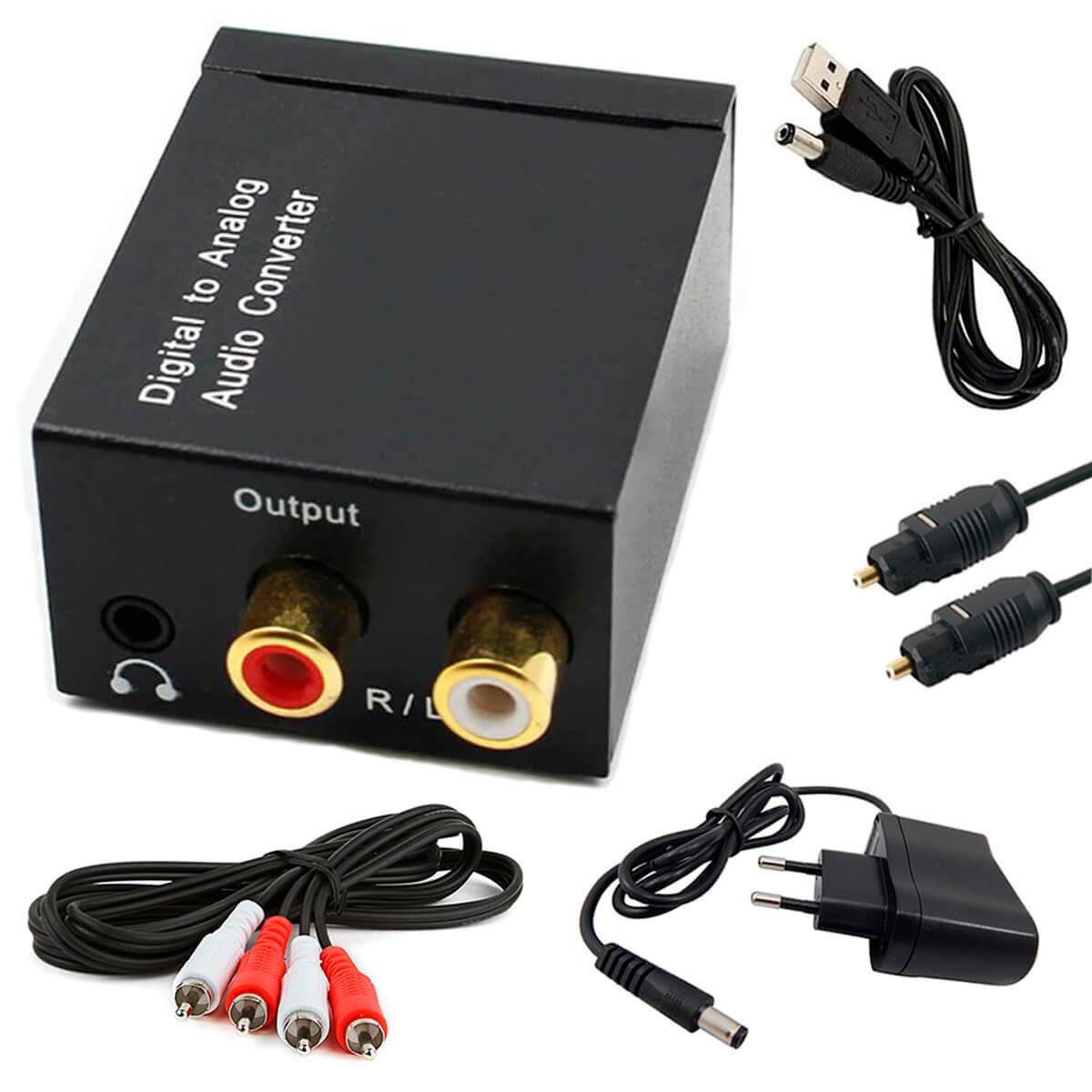 KIT Conversor Áudio Digital para RCA e P2 XT-5529 + Cabo Óptico Toslink 3 mts + Cabo Áudio Rca x Rca + Cabo DC 5V