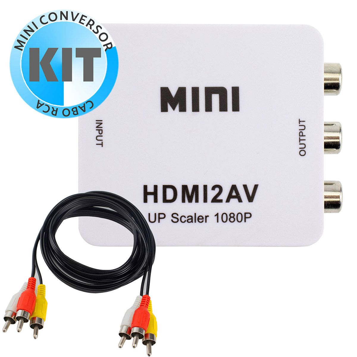 KIT Conversor Hdmi para AV Rca HDMI2AV + Cabo AV RCA