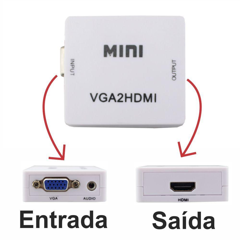 KIT Conversor VGA c/ Áudio P2 p/ Hdmi VGA2HDMI + Cabo HDMI
