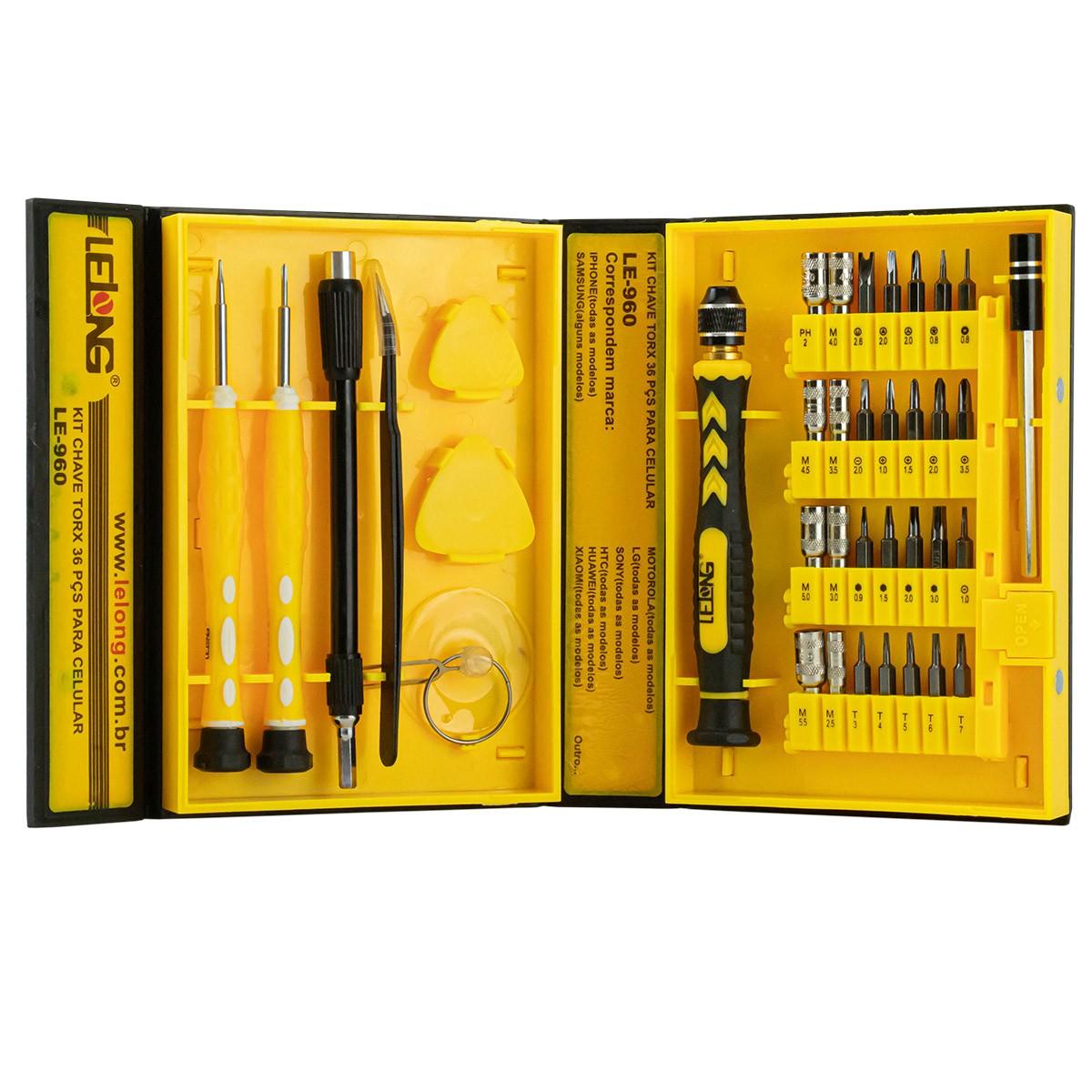 Kit de Chaves de Precisão para Celular com 36 Peças Lelong LE-960