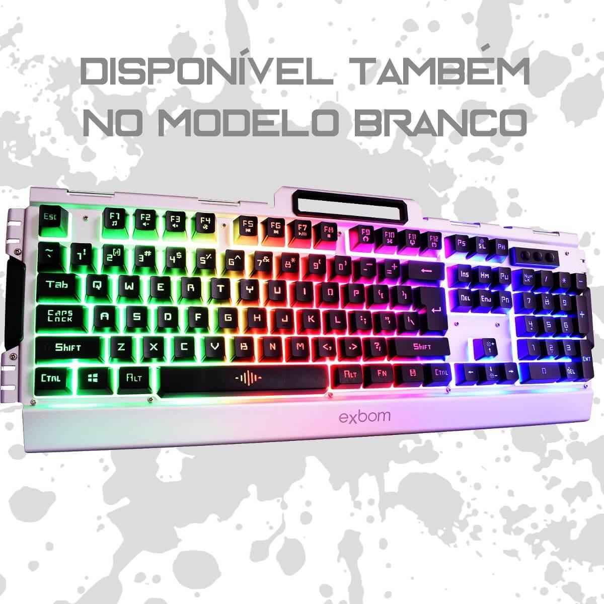 Kit Gamer Mouse e Teclado Semimecânico em Metal com Iluminação Led Exbom BK-G3000