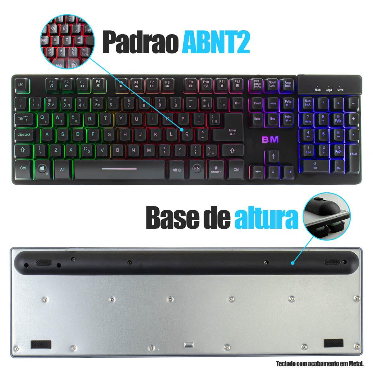 KIT Gamer Teclado + Mouse + Mouse Pad com LED Gamer BM-T06 + GM-601 + MP-LED2535