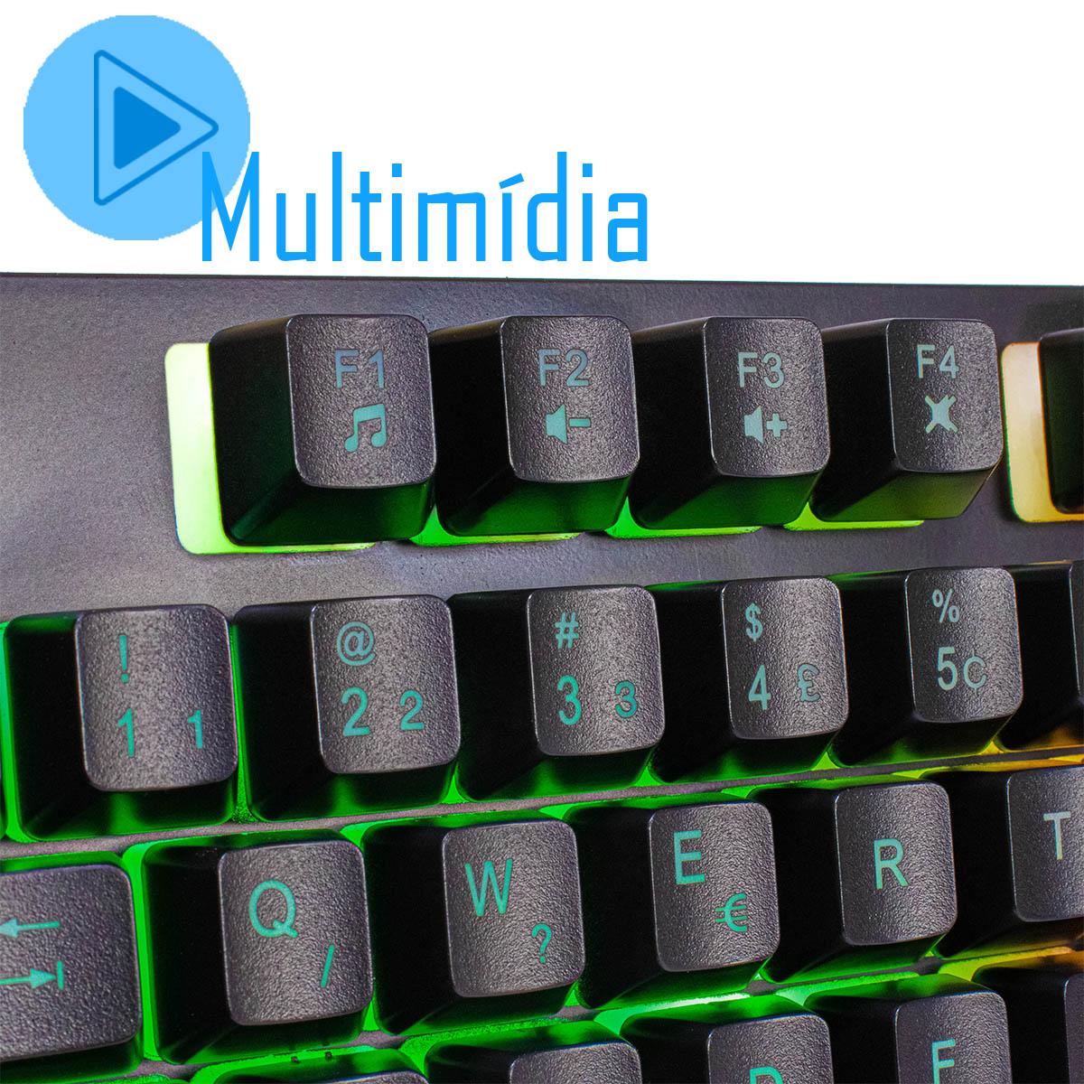 KIT Gamer Teclado + Mouse + Mouse Pad com LED Gamer BM-T06 + GM-V550 + MP-LED3080
