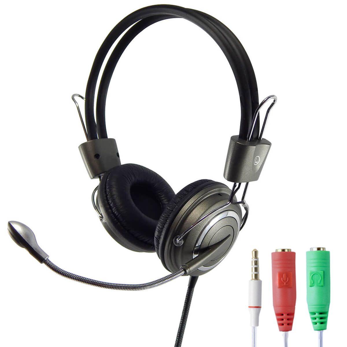 KIT Headset com Microfone Infokit HM-650MV com Adaptador P3 x P2