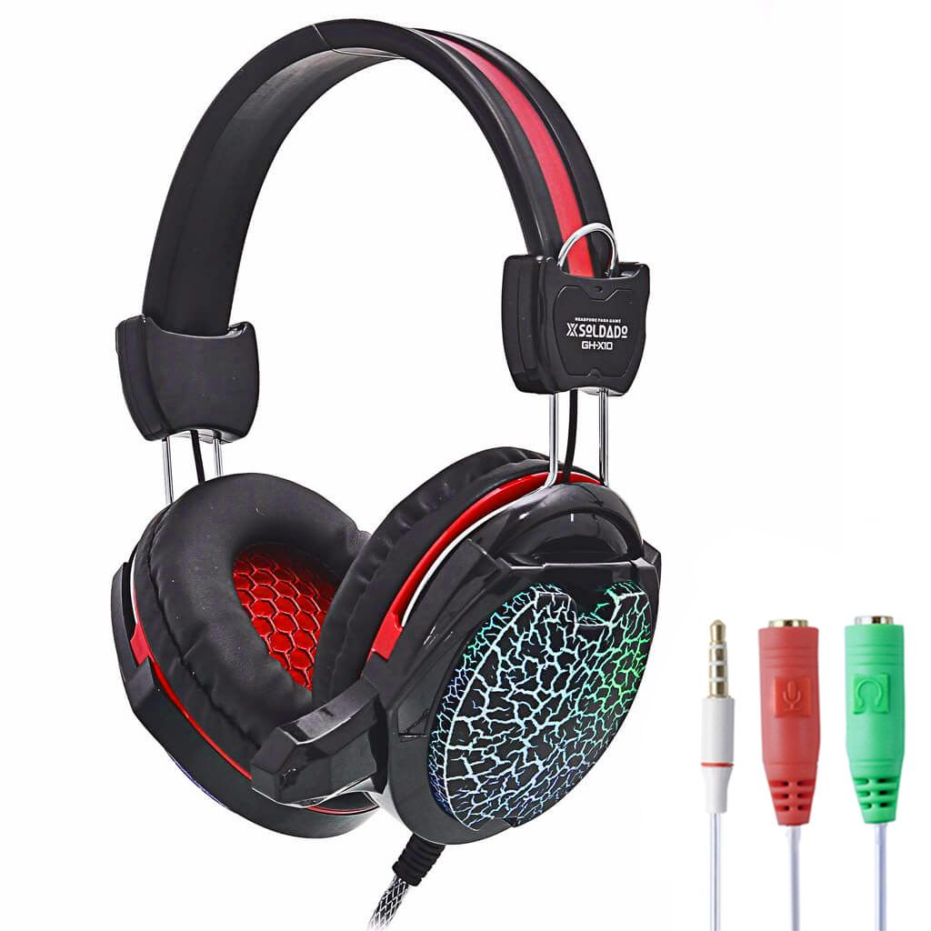 KIT Headset Gamer com Microfone e Led Colorido Exbom GH-X10 com Adaptador P3 x P2