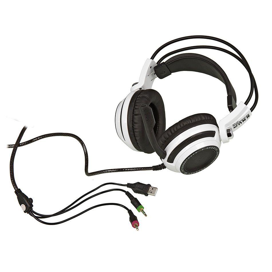 KIT Headset Gamer com Microfone e LEDs Knup KP-400 com Adaptador P3 x P2