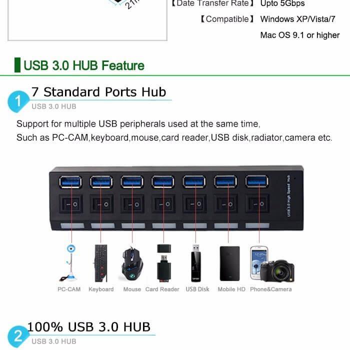 KIT Hub USB 3.0 7 Portas com Leds Botão Liga/Desliga e Fonte de Energia