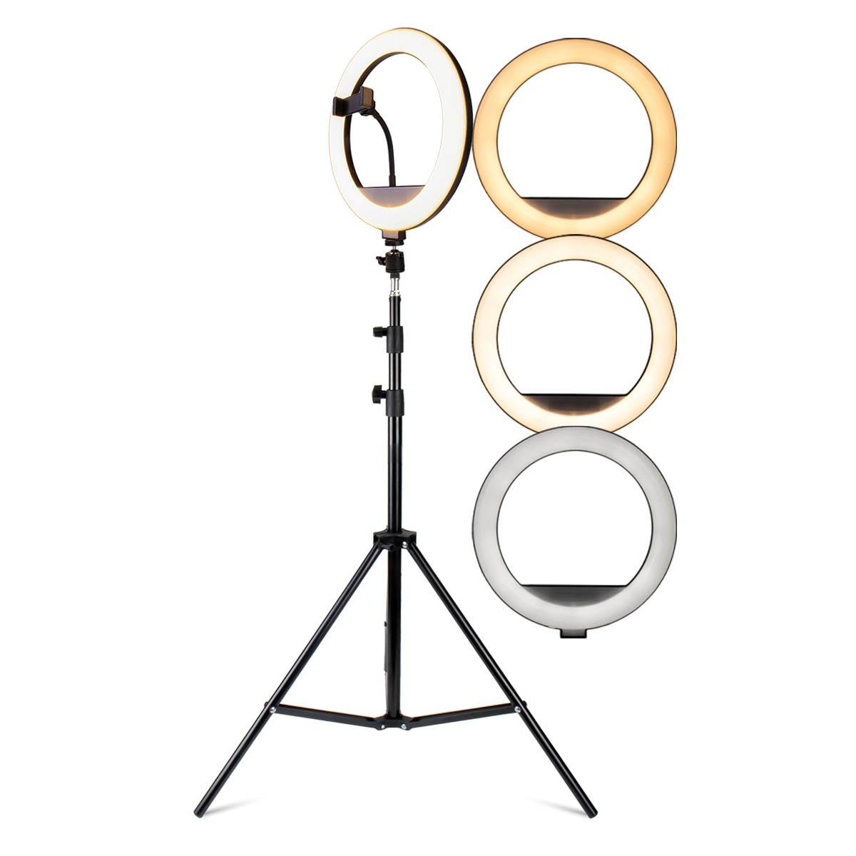 Kit Iluminador Ring Light 12 Polegadas LED Dimerizável com Ajuste de Intensidade e Suporte de Celular + Tripé de 2,10 metros