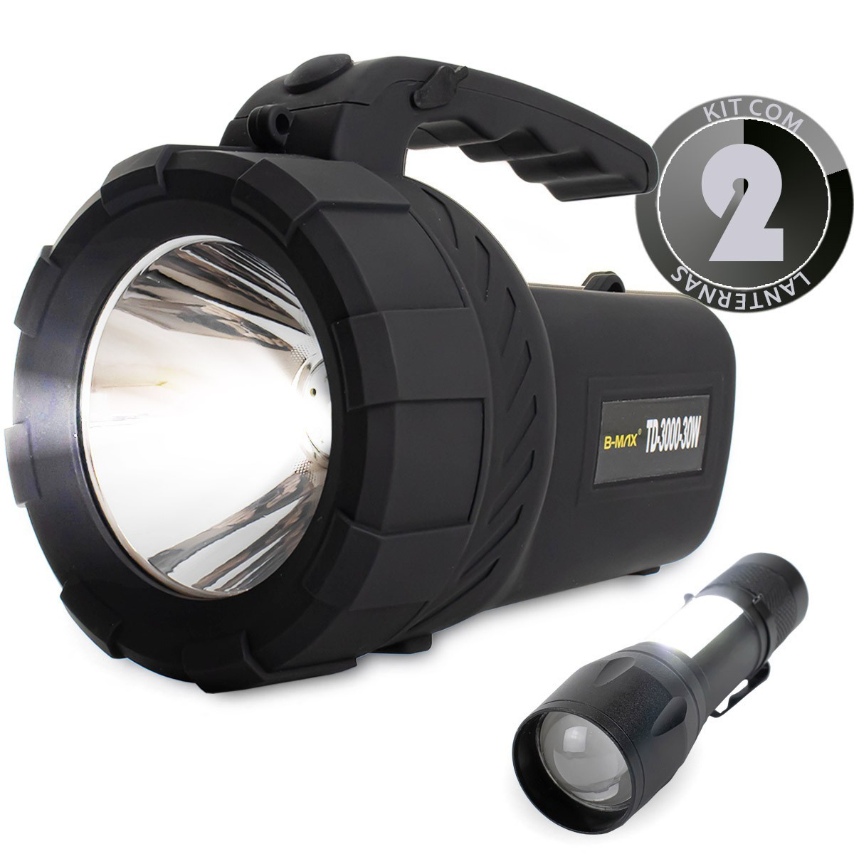 KIT Lanterna Led Holofote Recarregável TD-3000-30W + Mini Lanterna Tática Compacta BM8400