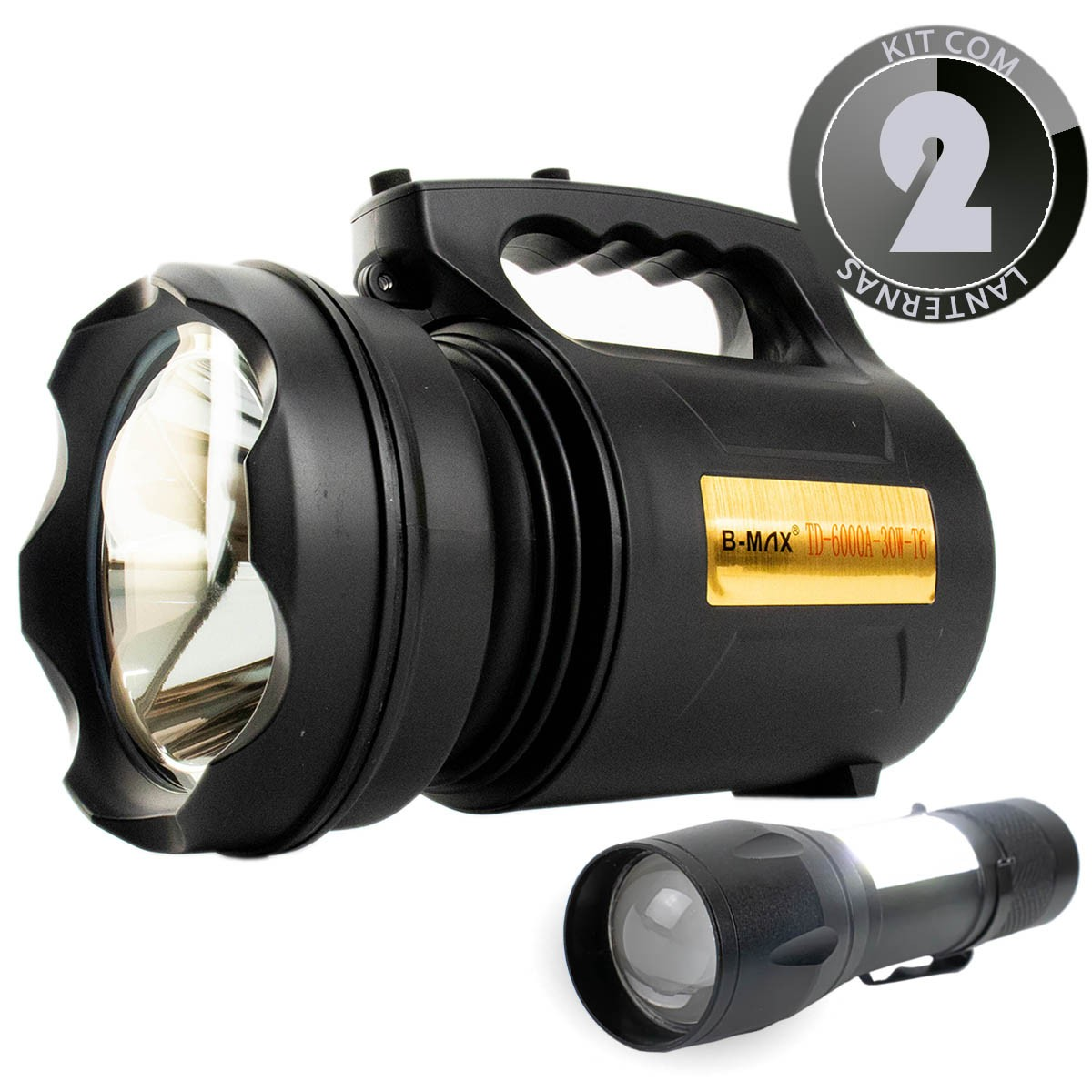 KIT Lanterna Led Holofote Recarregável TD-6000A-30W-T6 + Mini Lanterna Tática Compacta BM8400