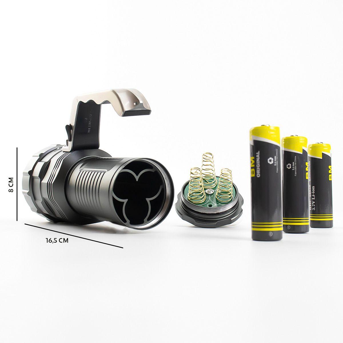 KIT Lanterna Led Recarregável BM-8806 + Mini Lanterna Tática Compacta BM8400