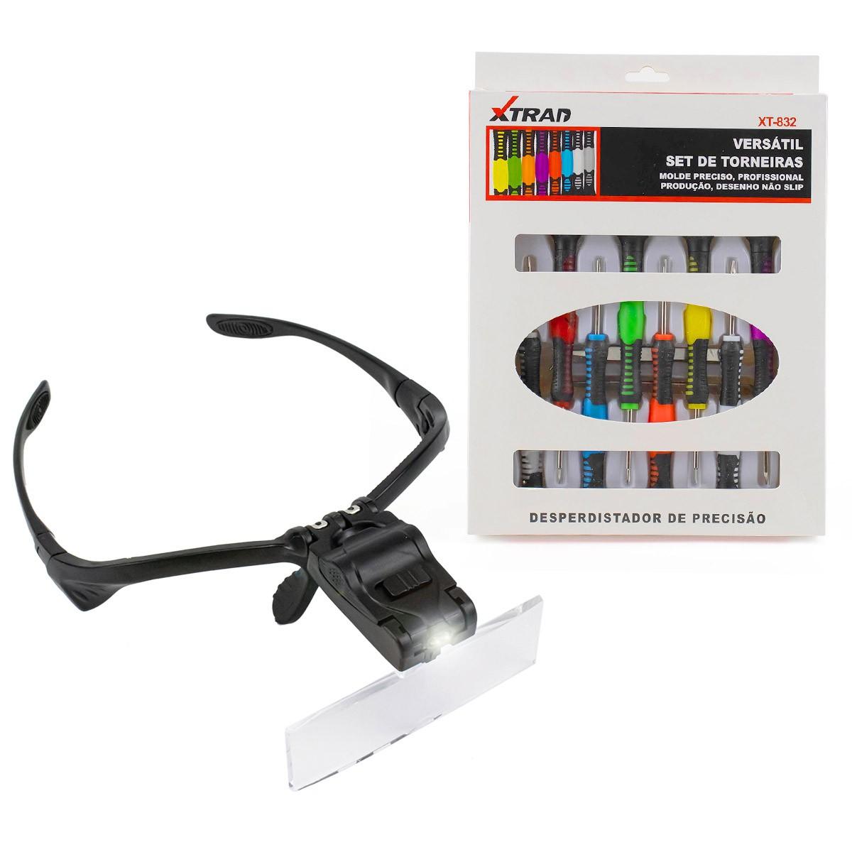 KIT Lupa de Cabeça Óculos 5 Lentes e LED + Jogo de Chaves 16 Peças Precisão