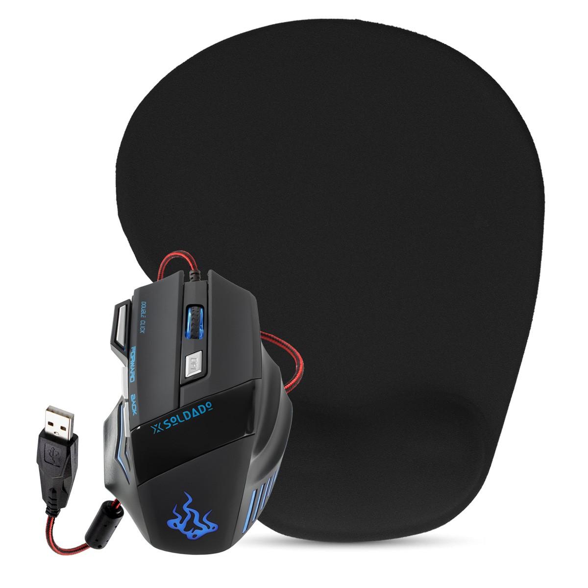 KIT Mouse Gamer LED USB 7 Botões DPI Ajustável GM-700 + Mouse Pad Ergonômico com Apoio de Pulso em Gel SC1006A