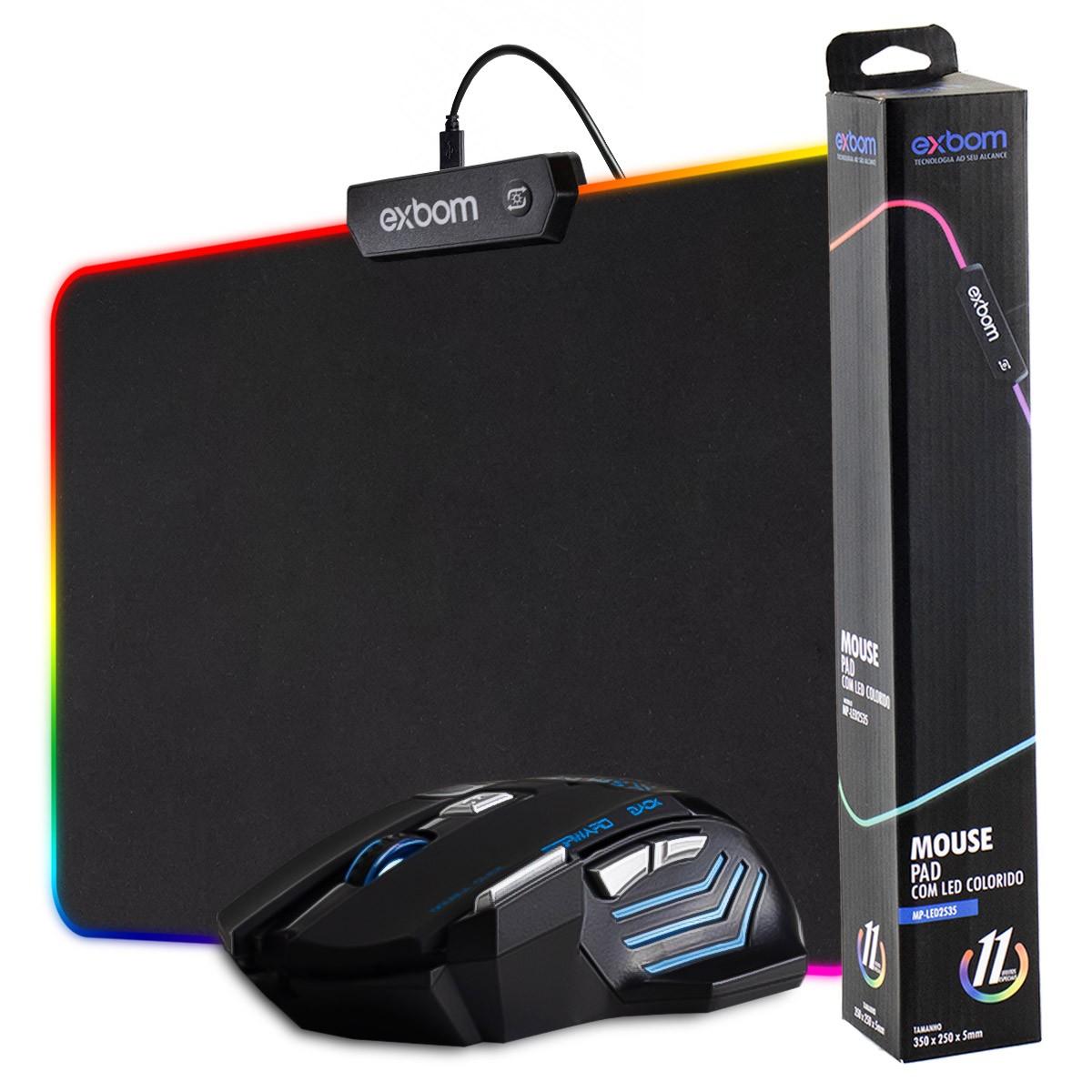KIT Mouse Gamer LED USB 7 Botões e DPI Ajustável Infokit GM-700 + Mouse Pad Gamer LED RGB 7 Cores 250x350x4mm Exbom MP-LED2535