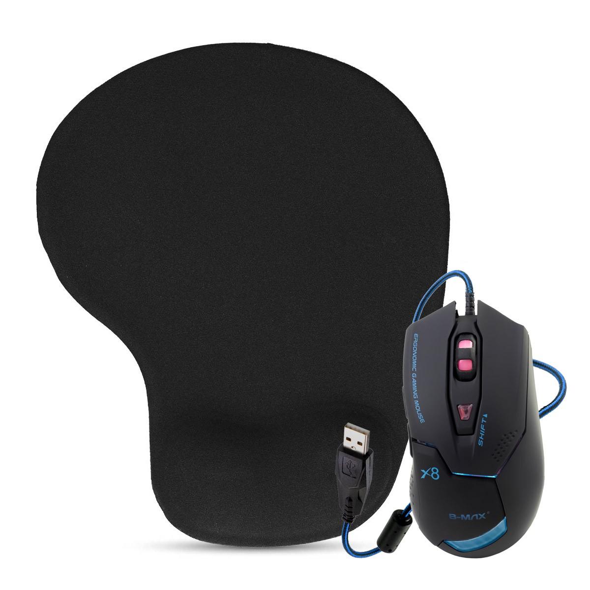 KIT Mouse Gamer USB com LEDs e Cabo Reforçado X8 + Mouse Pad Ergonômico com Apoio de Pulso em Gel SC1006A