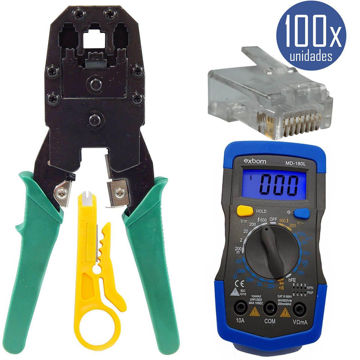KIT Multímetro Digital MD-180L + Alicate de Crimpagem RJ45 e RJ11 + 100x Conectores RJ45