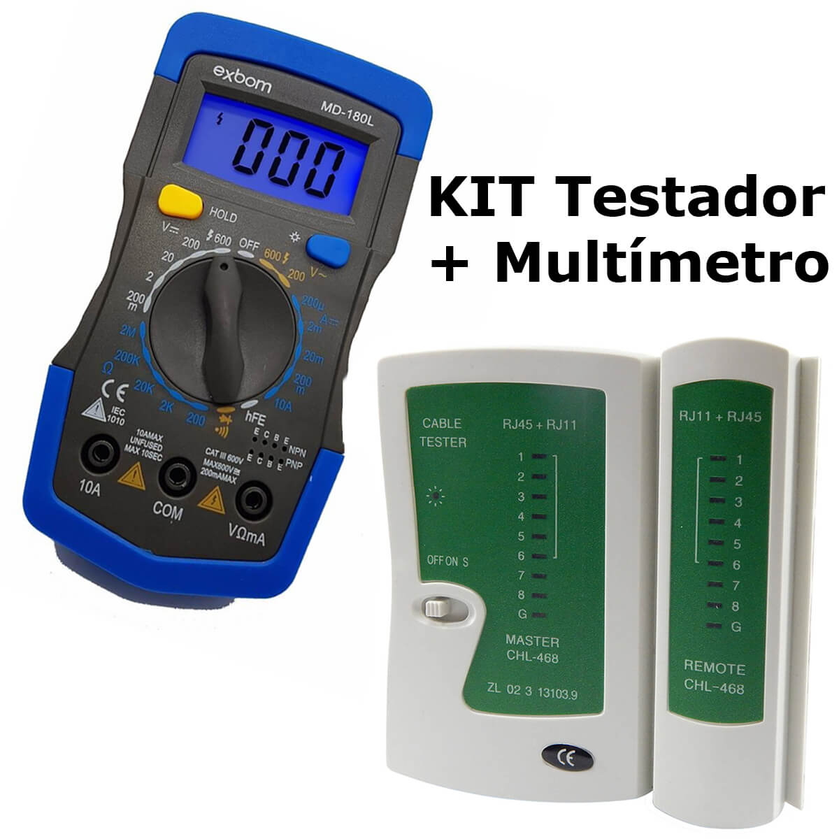 KIT Multímetro Digital MD-180L + Testador de Cabo RJ45 e RJ11
