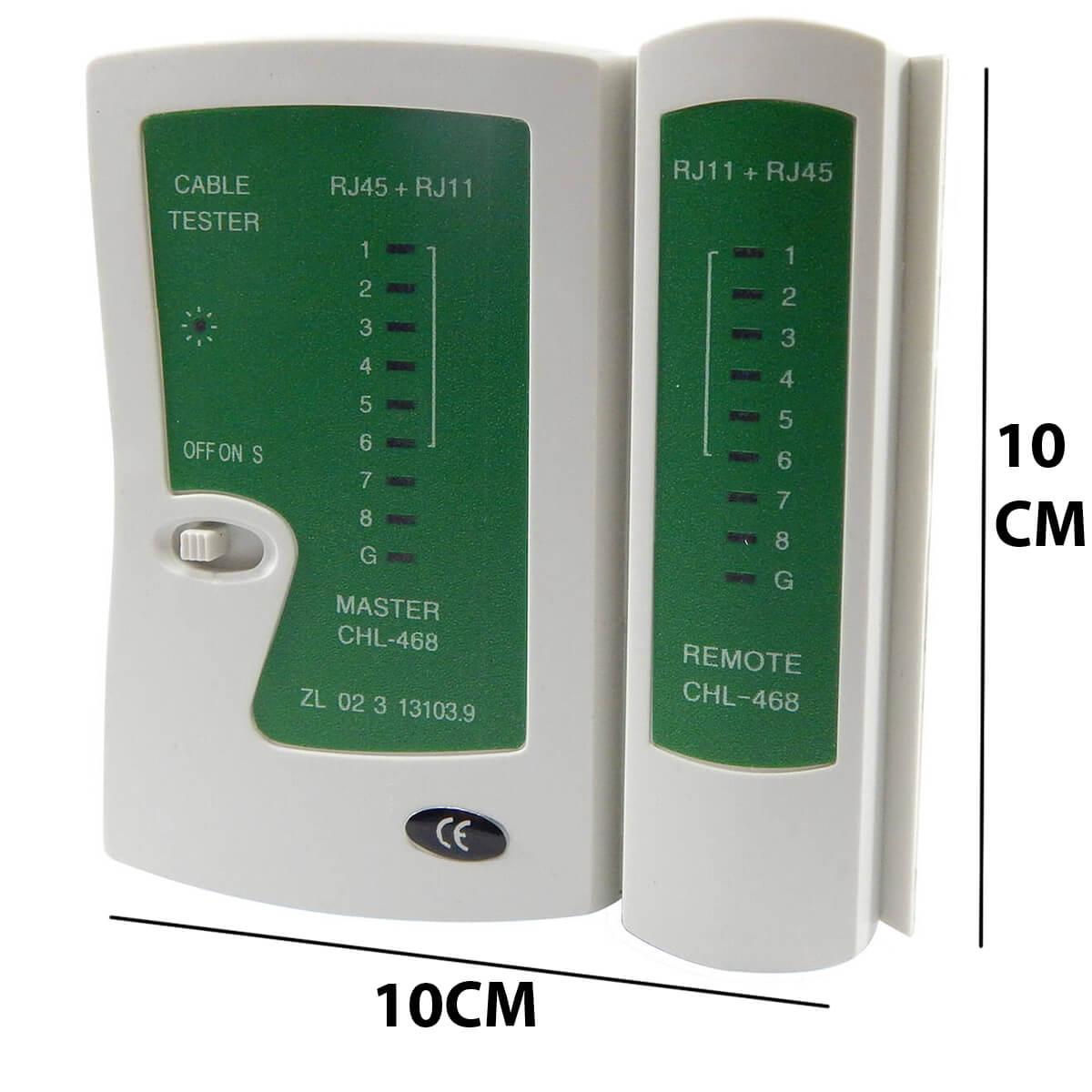 KIT Multímetro Digital MD-180L + Testador de Cabo RJ45 e RJ11