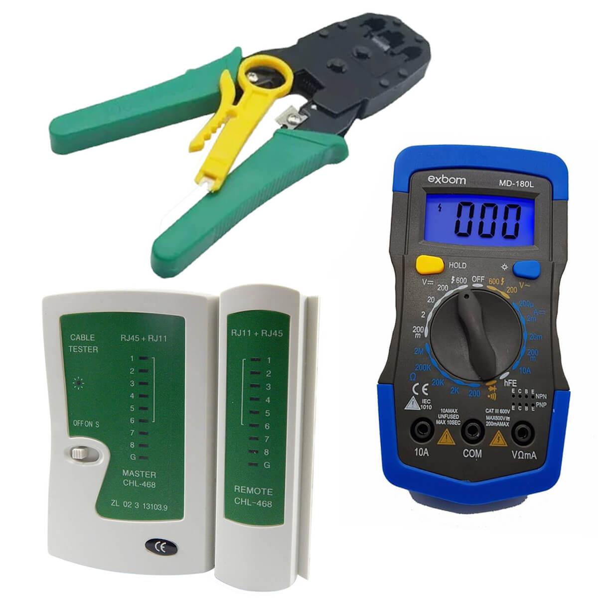 KIT Multímetro Digital MD-180L + Testador de Cabo RJ45 e RJ11 + Alicate de Crimpagem RJ45 e RJ11