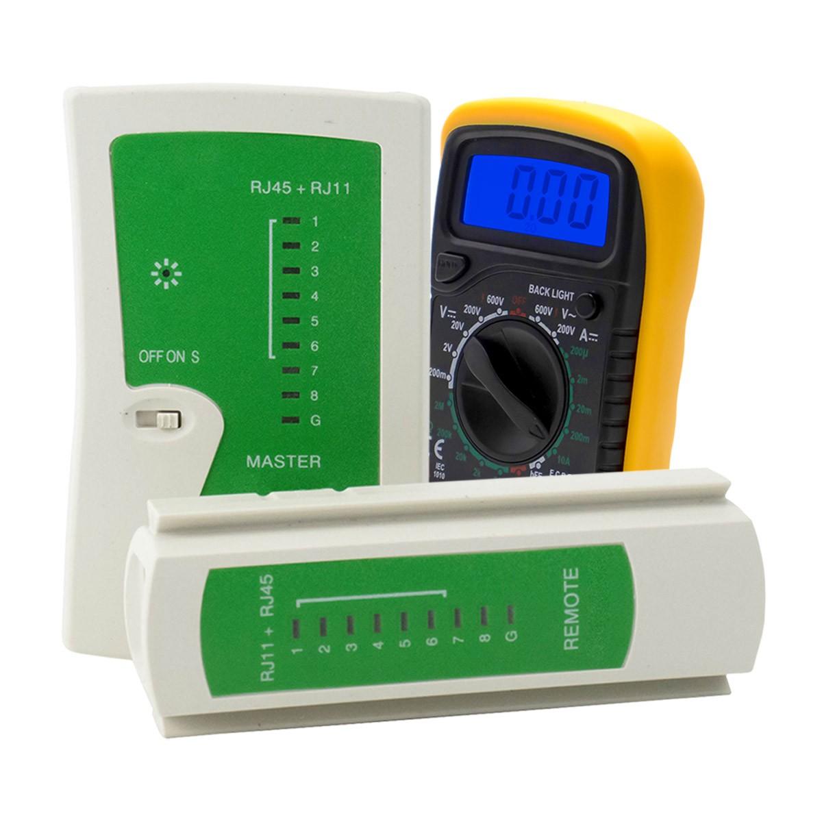 KIT Multímetro Digital MD-200L + Testador de Cabo RJ45 e RJ11