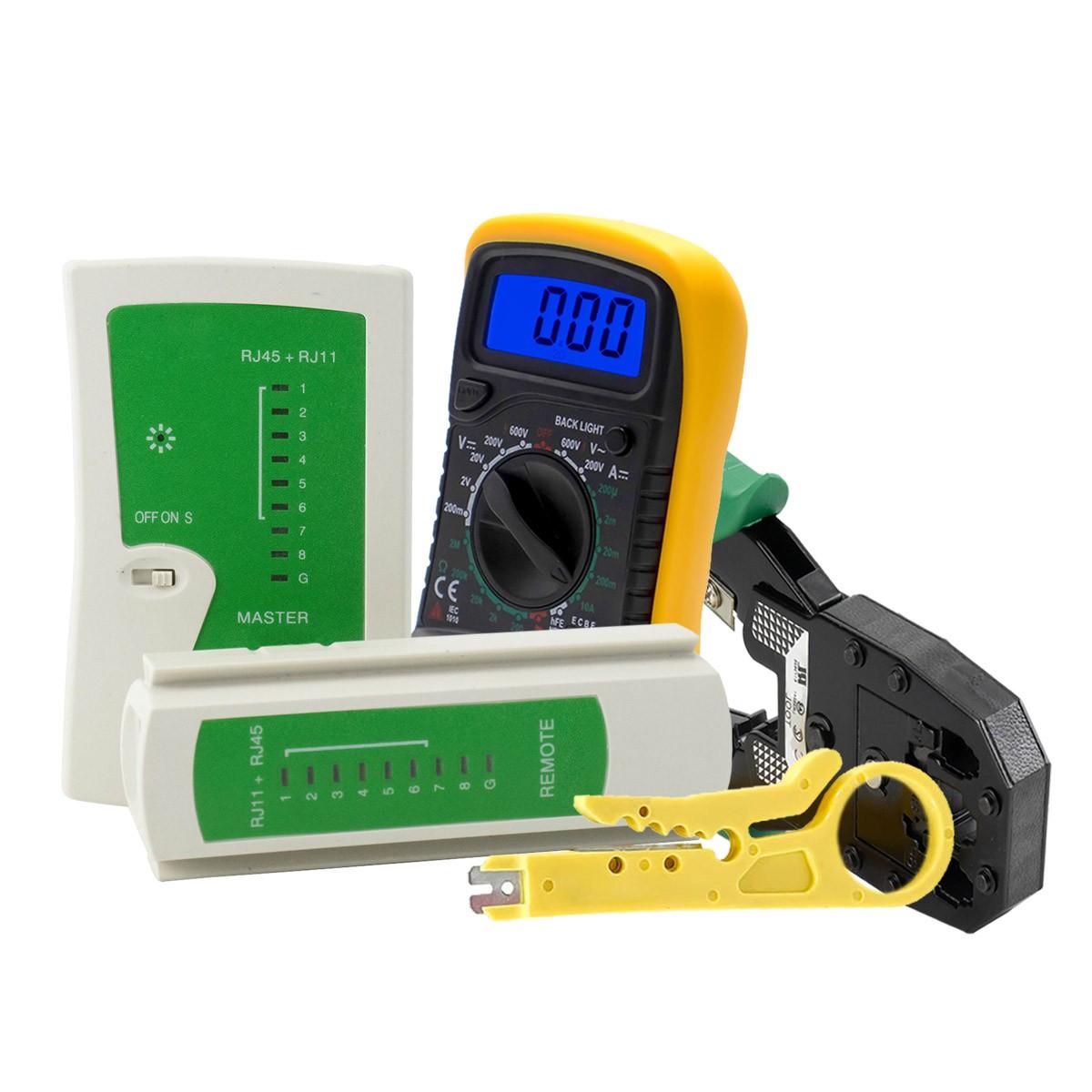 KIT Multímetro Digital MD-200L + Testador de Cabo RJ45 e RJ11 + Alicate de Crimpagem RJ45 e RJ11