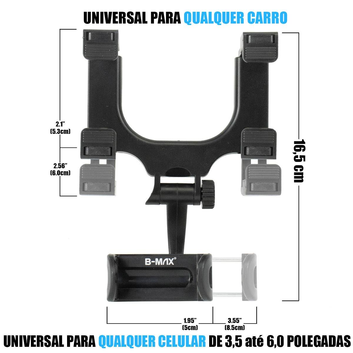 KIT Suporte Celular Veicular de Retrovisor BMG-21 + Carregador Veicular Turbo 36W B-Max