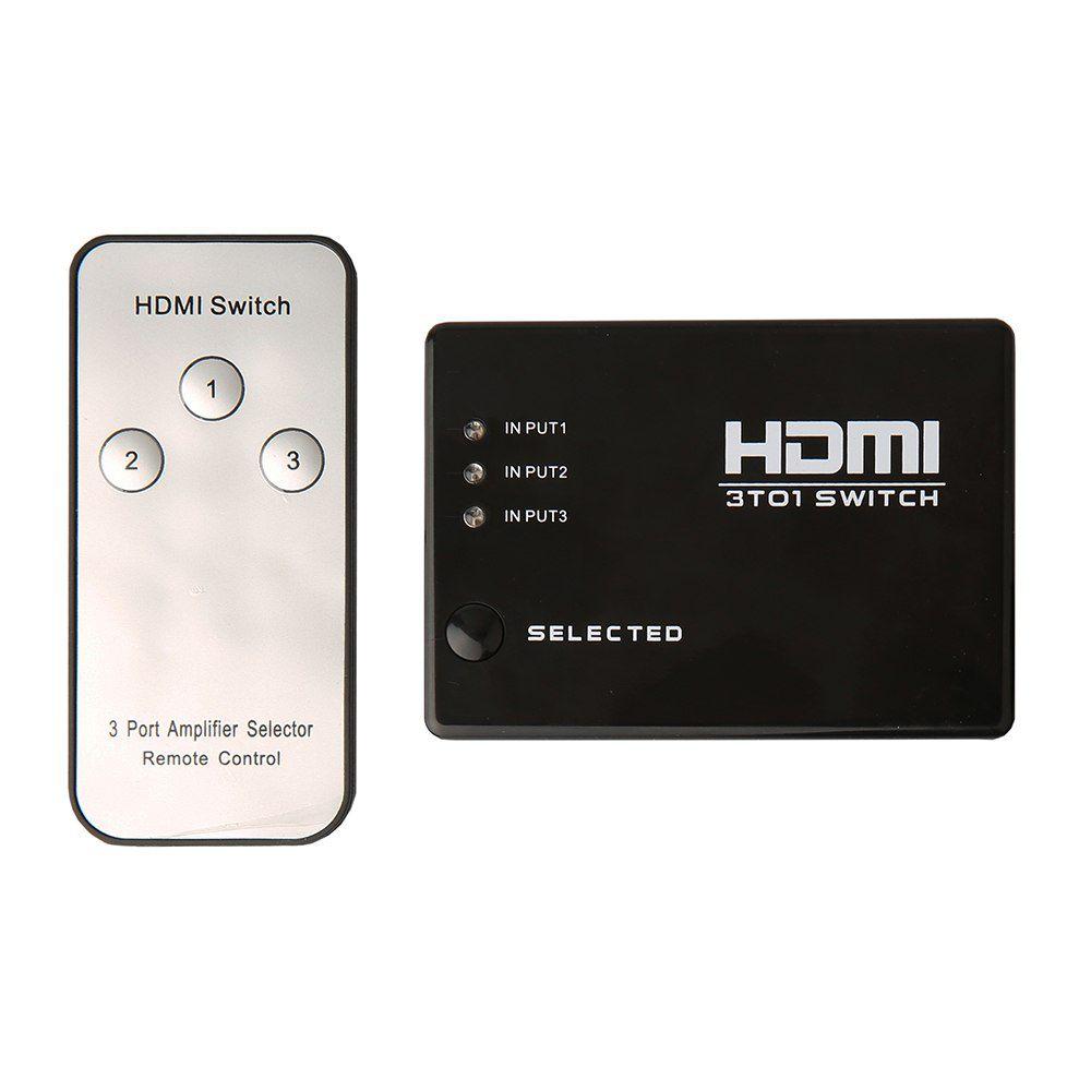 KIT Switch HDMI 3 Entradas e 1 Saída com Controle Remoto e Fonte de Energia + 3 Cabos hdmi de 1 Metro CBX-H10SM