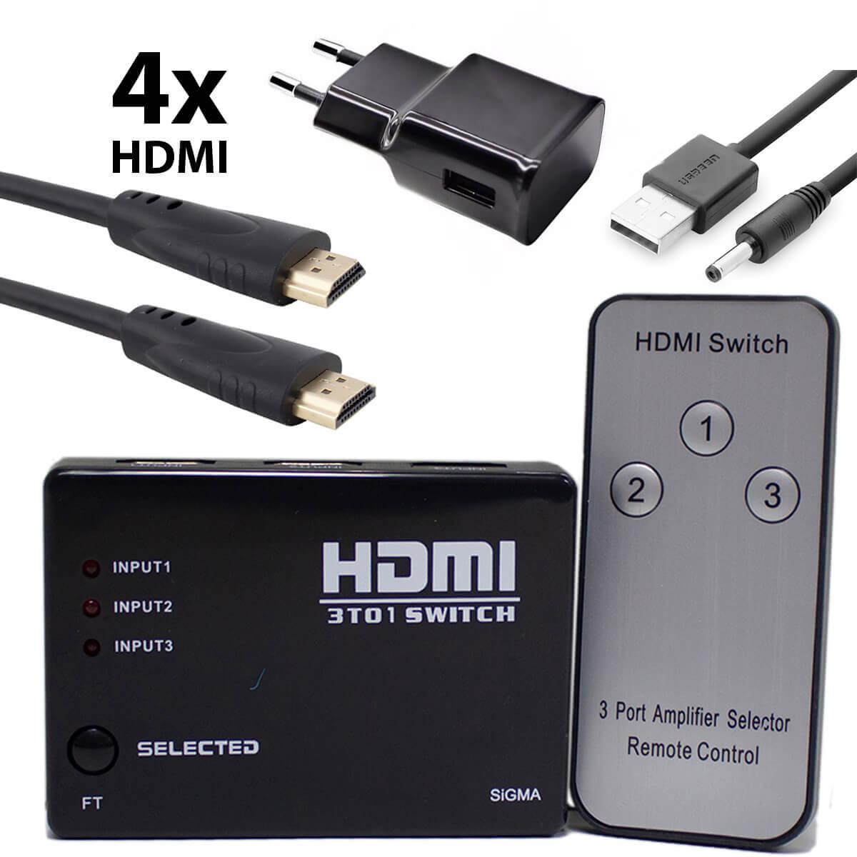 KIT Switch HDMI 3 Entradas e 1 Saída com Controle Remoto e Fonte de Energia + 4 Cabos hdmi de 1 Metro CBX-H10SM